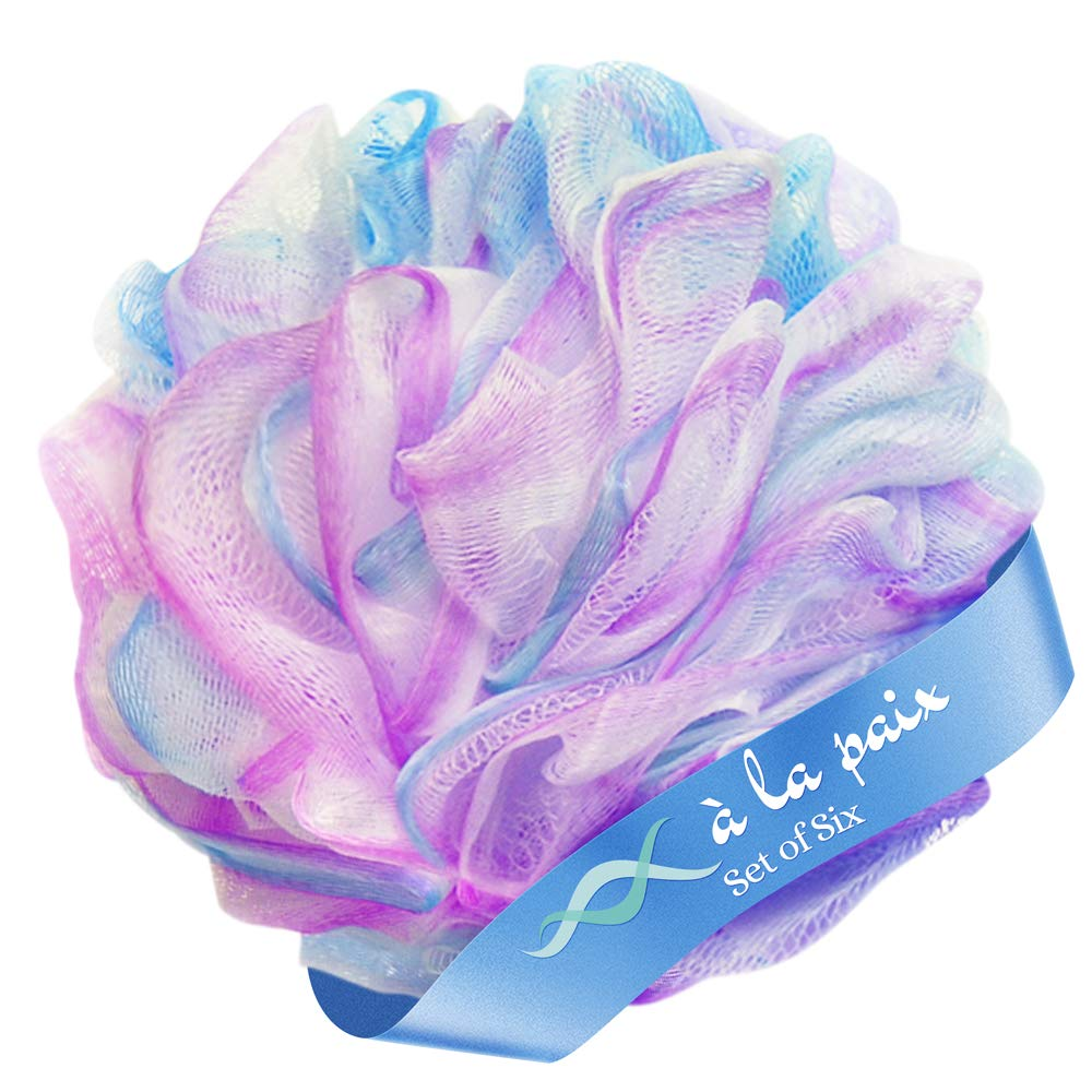 Loofah Bath Sponge set of 6 colors (50 gram each)-Large Mesh Exfoliating Shower Pouf á la paix