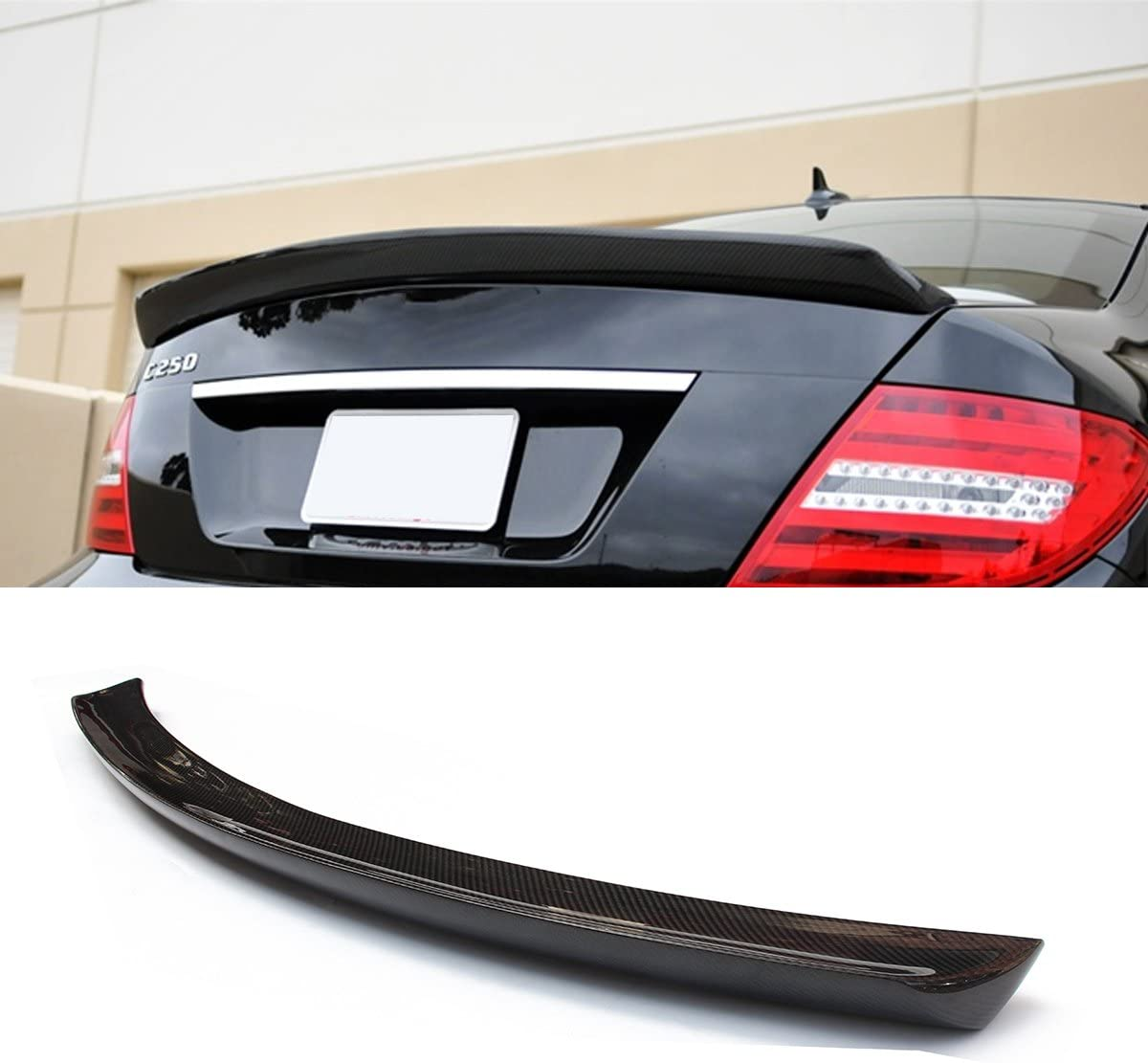 Fandixin W204 Spoiler AMG Style Carbon Fiber Rear Trunk Deck Lip Boot Spoiler Wing for Mercedes-Benz C Class W204 2-Door Coupe 2012-2016