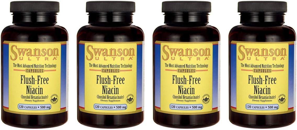 Swanson Flush Free Niacin 500 Milligrams 120 Capsules 4 Pack