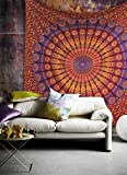 Popular Handicrafts Kp751 Hippie Mandala Bohemian Psychedelic Intricate Floral Design Indian Bedspread Magical Thinking Tapestry 90″x108″(230x270cms) Maroon-Yellow