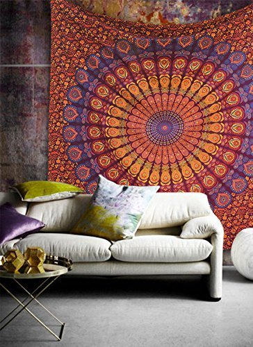 "Popular Handicrafts Kp751 Hippie Mandala Bohemian Psychedelic Intricate Floral Design Indian Bedspread Magical Thinking Tapestry 90""x108""(230x270cms) Maroon-Yellow"