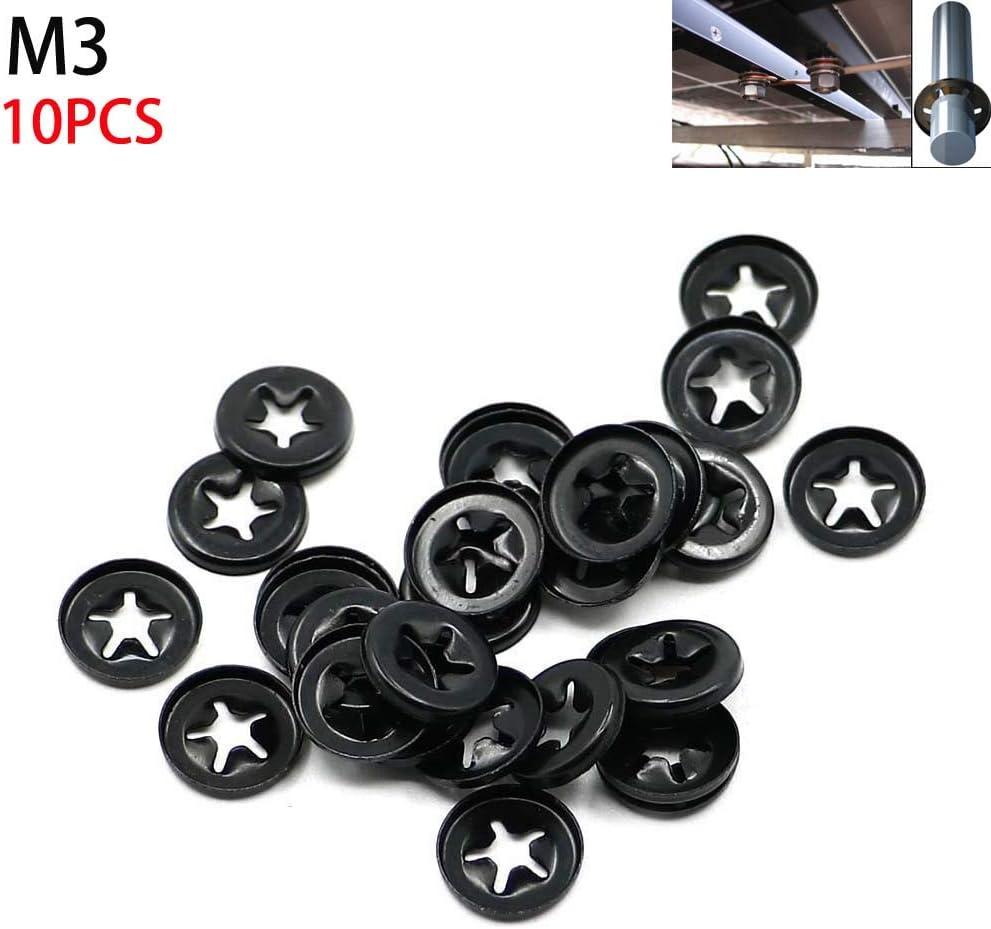 Motoparty M3 Star Lock Washer Push on Fasteners Kit 3mm Starlock Quicklock Speed Lock Washer Retainer Fastener Gasket M3100.25 ,30PCS