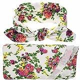 TiaoBug Newborn Baby Floral Cotton Swaddle Blanket Sleepbag With Bow Headband White One Size