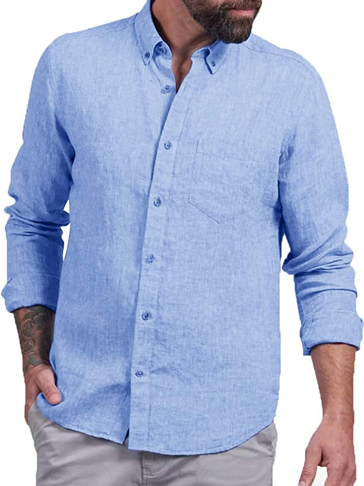 Enjoybuy Mens Linen Button Down Collar Casual Shirts Long Sleeve Regular Fit Solid Color Shirts