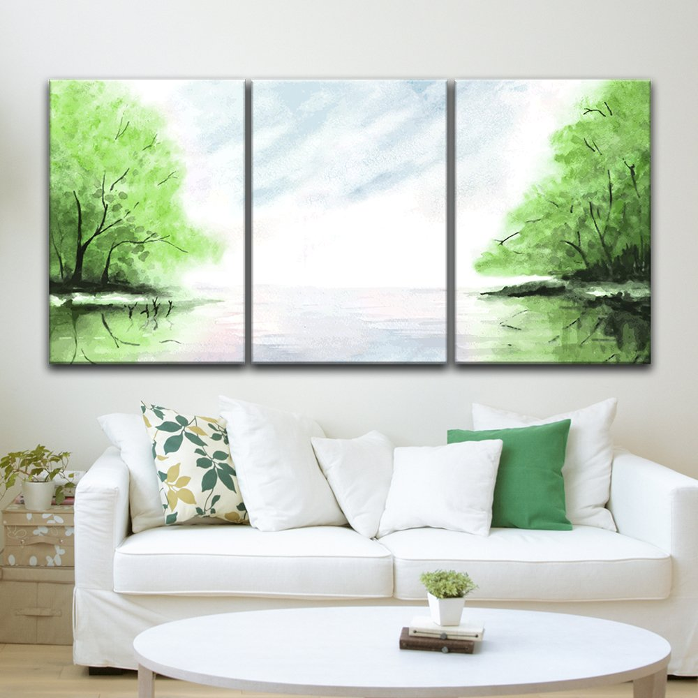 Ready to Hang 24x36x3 Panels Gallery Wrapped Wood Stretcher Bars wall26 3 Piece Canvas Print Gorgeous Sunset Over Vineyard Giclee Artwork Modern Wall Decor Contemporary Art