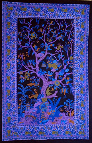Cotton Vertical Tree of Life Tapestry On Black