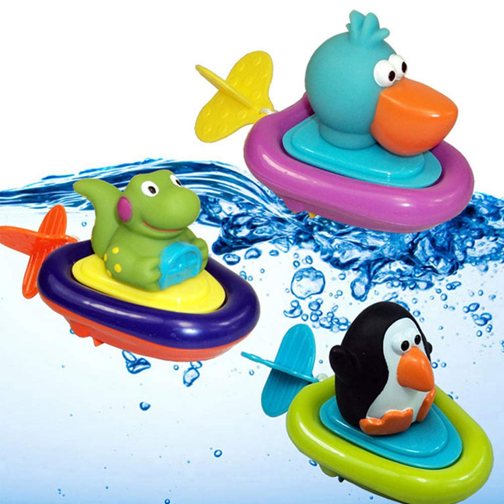 Clockwork Water Toys Baby Bath Toys Pull and Go Boat Bath Toy Swimming Animal Pelican Dinosaur Penguin Bath Bathtub Toys forToddlers, Boys and Girls 3 PCS Dr.OX