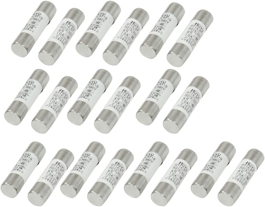 Baomain Ceramic Fuse RT14 RT18 R015 Fast-blow 10mm x 38mm 500V 20A 20 pack
