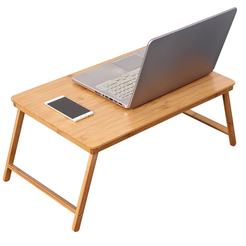 PENGFEI Foldable Laptop Stand for Desk Multifunction Portable College Students Bed Study Table Breakfast Tray, Bamboo, Wood Color (Size : 60x39x27CM)
