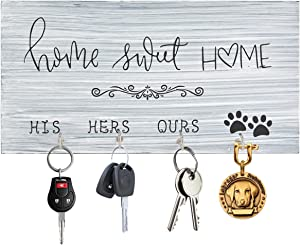 Homode Key Holder for Wall, Farmhouse Key and Leash Hooks, Small Key Hanger Decorative, Wood Signs Home Decor for Entryway, Mudroom, Hallway, Housewarming Gift, Rustic White