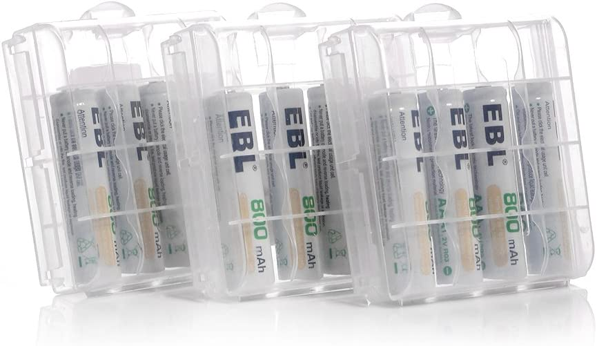 Home Basic Series EBL 12 Pack 800mAh AAA Ni-MH Rechargeable Batteries with 8 Slot AA//AAA Battery Charger