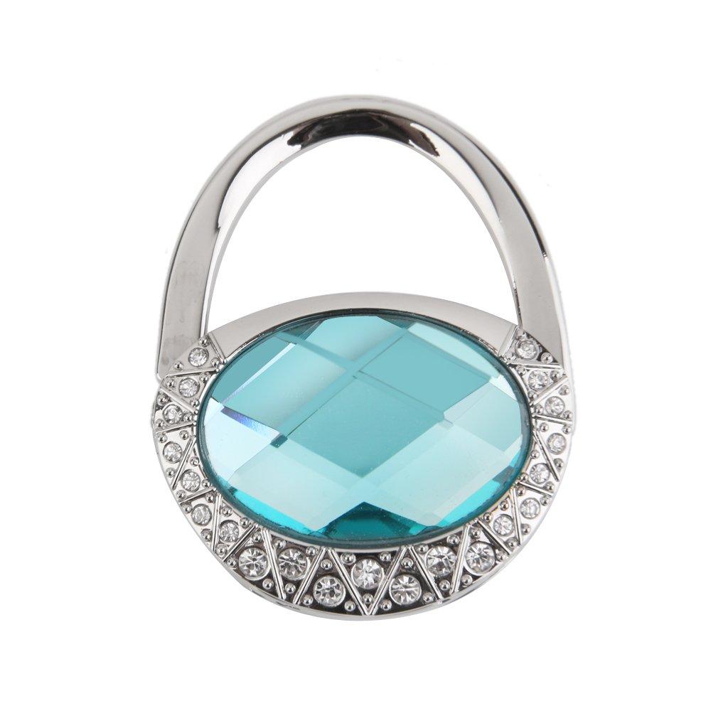 Light Blue Oval Foldable Purse Bag Handbag Hanger Hook Holder Gift Generic FRA14015863