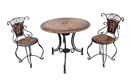 Acme Production Wooden & Iron Carved,Decorative Kids(10 Years Kids) Foolding Table with 2 Chair Set