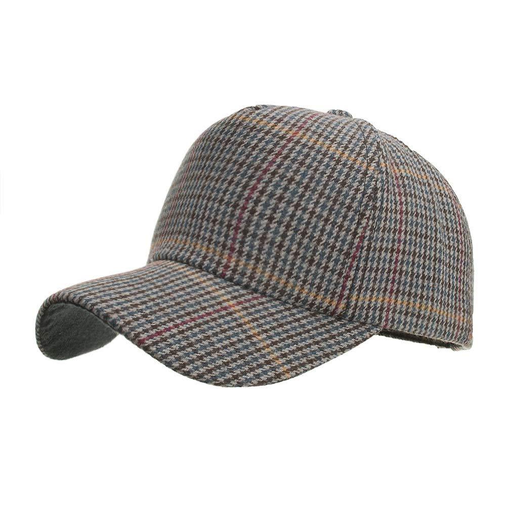 YIJIUERCCY New Woolen Tartan Baseball Cap Mode M/änner und Frauen Sonnenhut