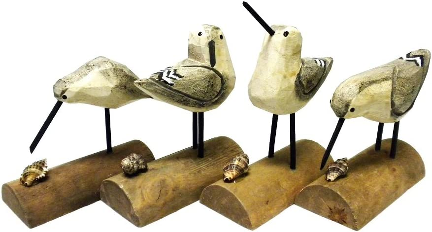 "DEI Beach Carved Wooden Seagull SANDPIPER sand piper BIRDS - Set of 4 - 6""H Multicolor"