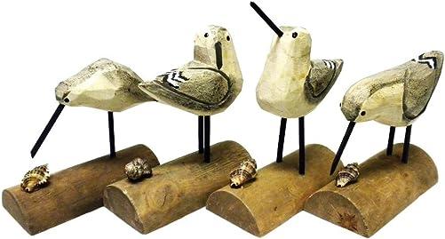 DEI Beach Carved Wooden Seagull SANDPIPER sand piper BIRDS – Set of 4 – 6 H Multicolor