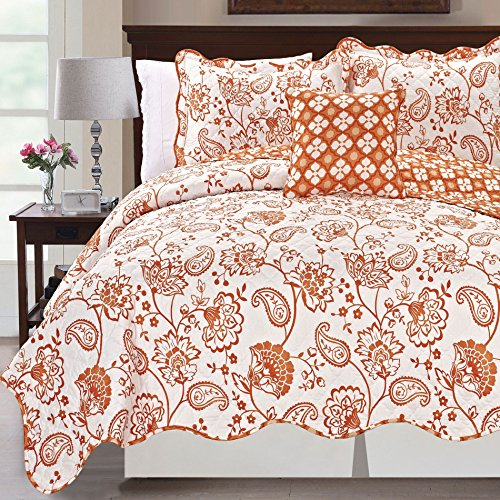 Serenta Printed Paisley Flower 4 Piece Reversible Quilted Coverlet Set, Queen, Orange -