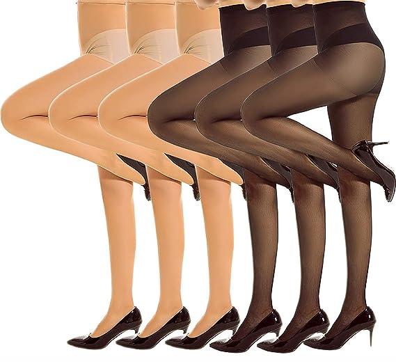 77b994f1e6947 Women's 6 Pair Control Top High Waist Pantyhose Basal Sheer Toe Tights (3  Pack Black