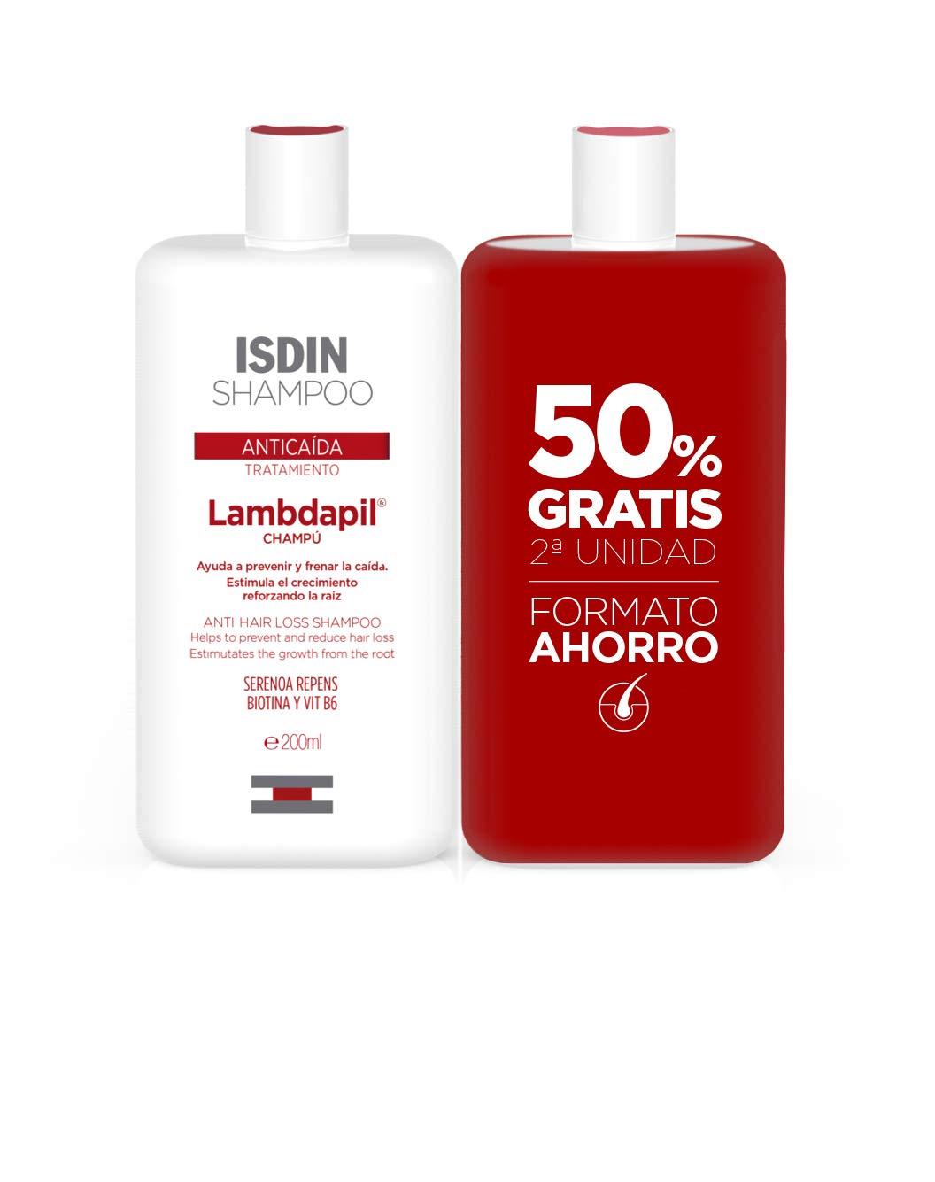 Lambdapil Isdin Duplo Tratamiento Champú Anti Caída, Ayuda a Reducir la Caída del Cabello y Estimula el Crecimiento Capilar, 200 ml, Pack de 2