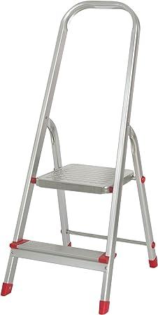 Escalera de Aluminio de 2 peldaños 39.7x53x99cm Aluminio: Amazon.es: Hogar