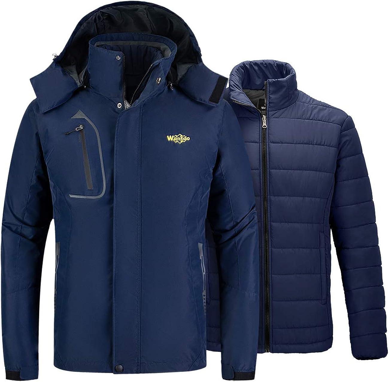 Wantdo Men's 3 in 1 Puffer Liner Ski Jacket Waterproof Rain Snow Warm Winter Coat
