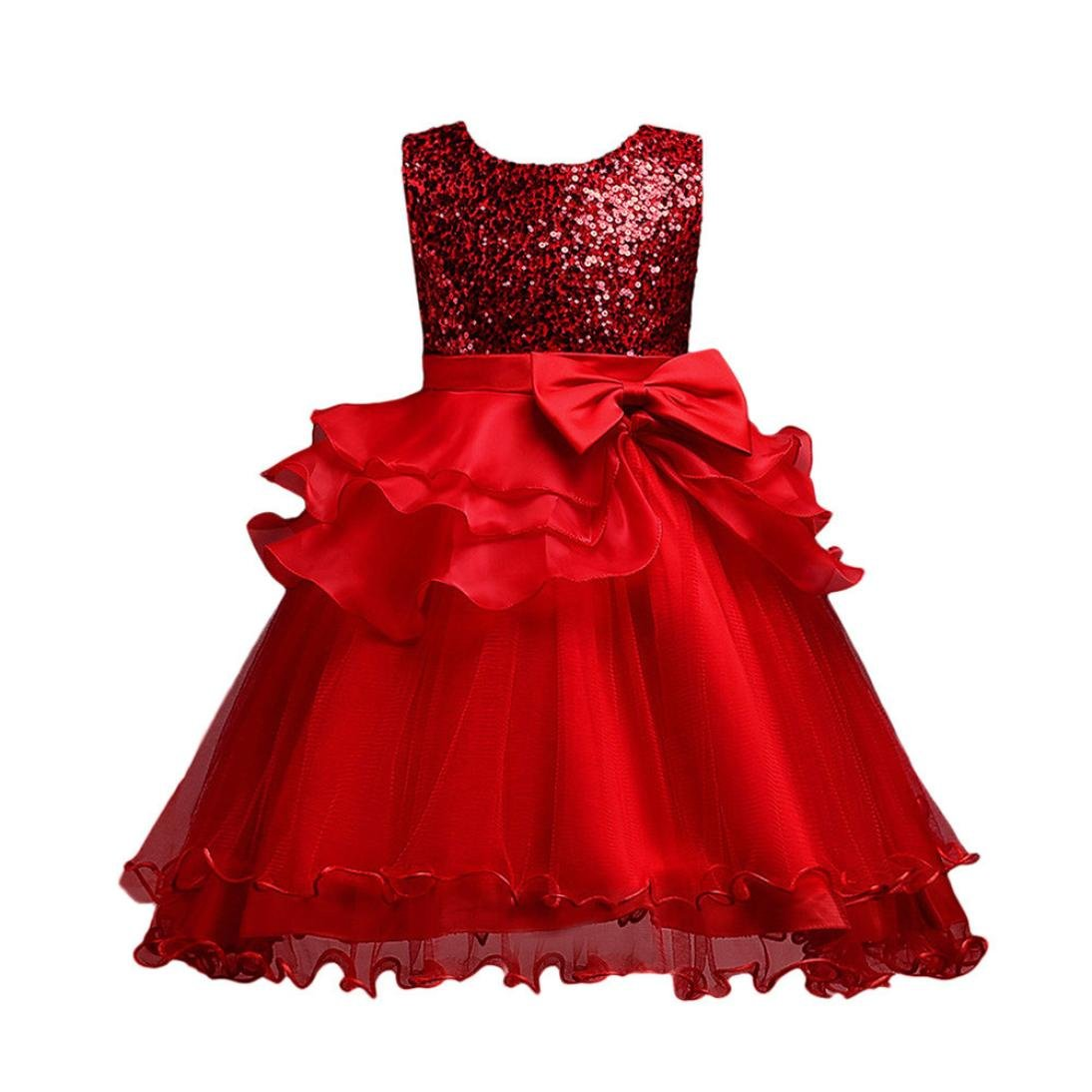 Kobay Girls Sleeveless Bow Sequins Lace Dress Mesh Tutu Dress,Floral Baby Girl Princess Bridesmaid Pageant Gown Birthday Party Wedding Dress Suit for 2-9 Years Princess