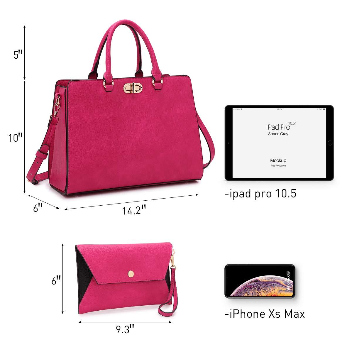 Women's Fashion Handbags Tote Purses Shoulder Bags Top Handle Satchel Purse Set 2pcs 01- Fuchsia by Dasein (Image #2)