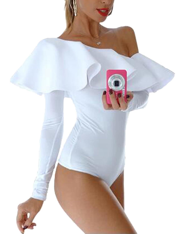 Women Sexy Off One Shoulder Long Sleeve Ruffle Bodysuit Romper