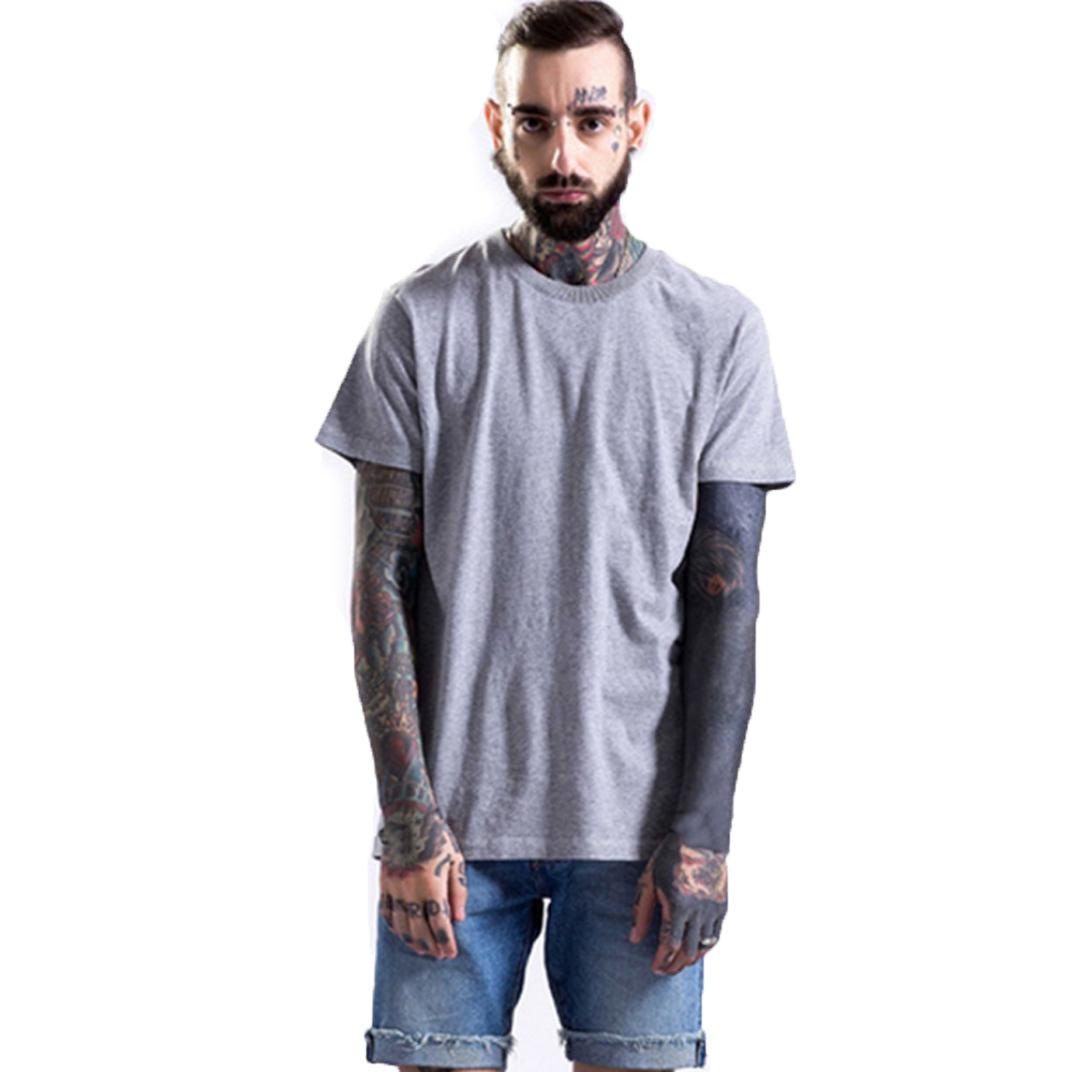 Solide V-Ausschnitt / O-Ausschnitt Beiläufig Kurzarm T-Shirts Herren, Blaustercool