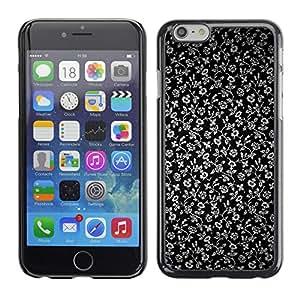 Qstar Arte & diseño plástico duro Fundas Cover Cubre Hard Case Cover para Apple (5.5 inches !!!) iPhone 6 Plus ( Flowers Grey Wallpaper Black Garden)