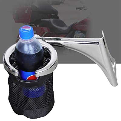 AUFER Left Side Motorcycle Passenger Drink/Cup Holder with Mesh Basket for 1998-2013 Touring Electra Glides Road Glide & Trike,Chrome: Automotive