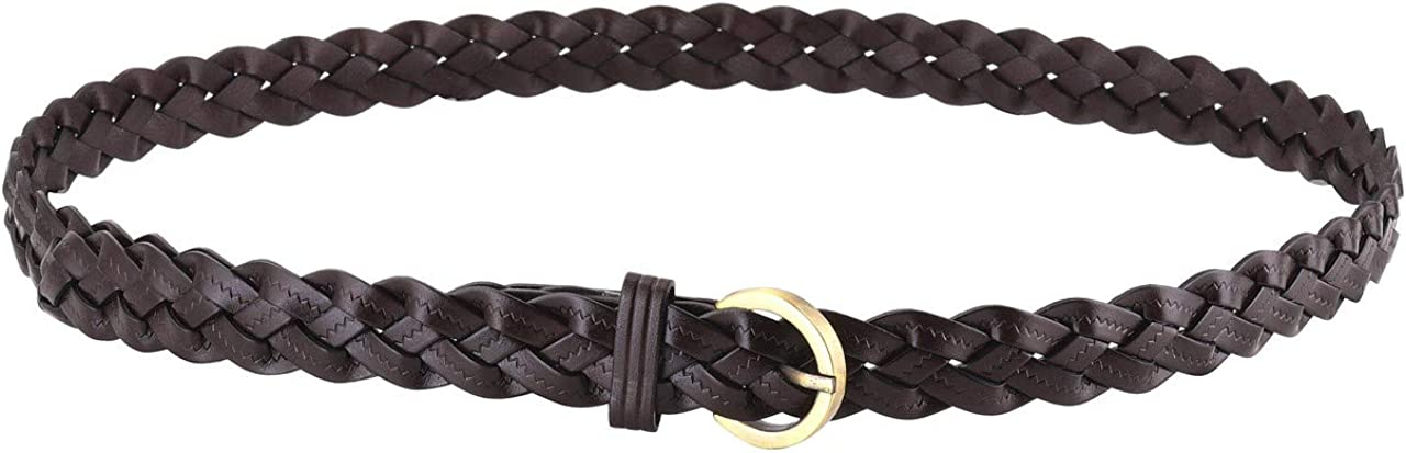 CHIC DIARY Womens Braided Woven Belt Skinny Vintage Narrow Leather Belts