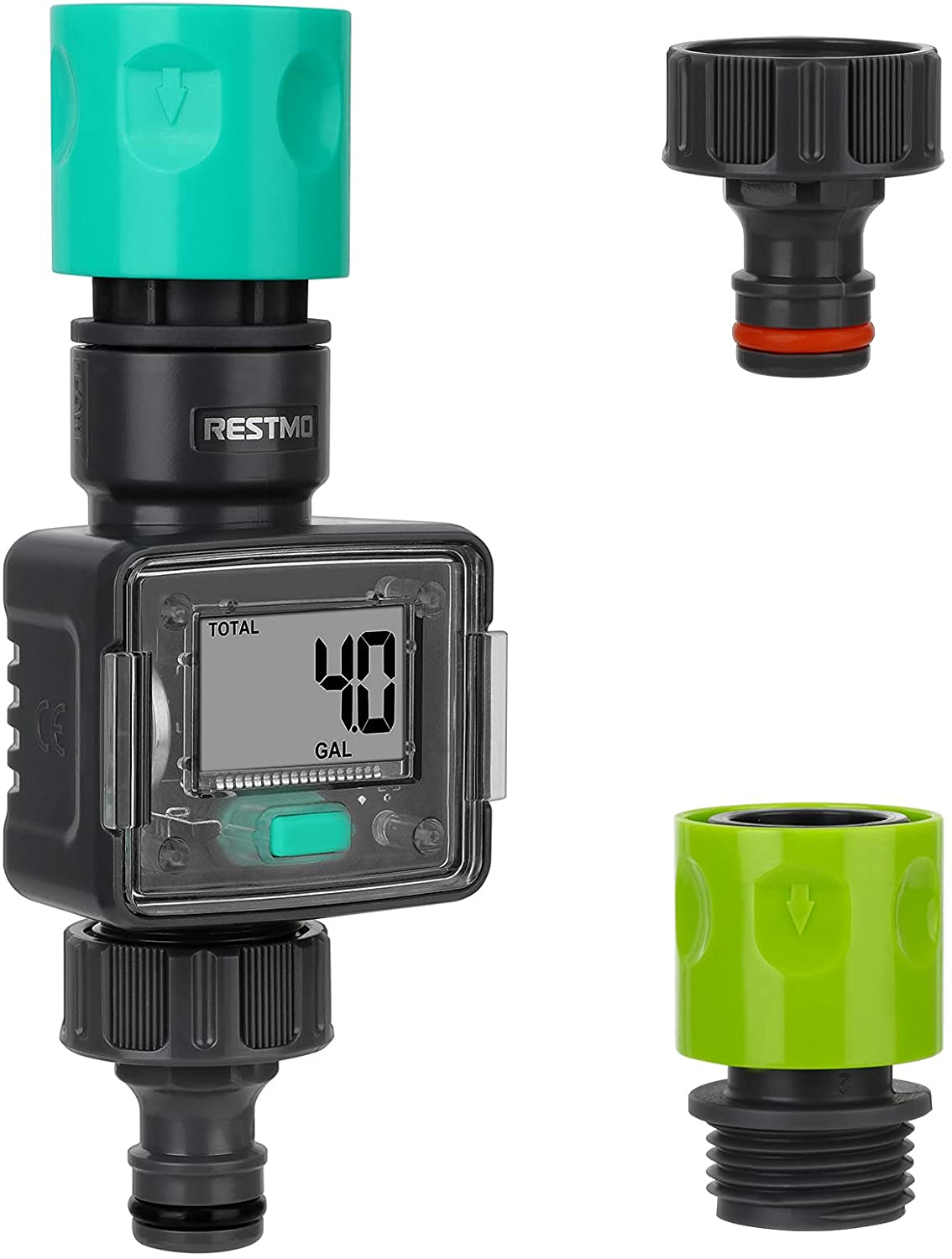 RESTMO Water Meter with Quick Connect Fittings   Digital Control   4 Measure Modes   Display Gallon/Liter Usage and Flow Rate   Ideal to Track Outdoor Garden Hose Watering