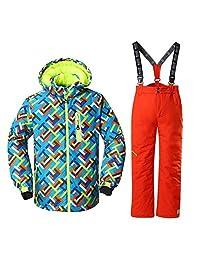 HOTIAN Windproof Boys Snow Jacket Insulated Ski Jacket + Pants Snowsuit (US 4-US 16)
