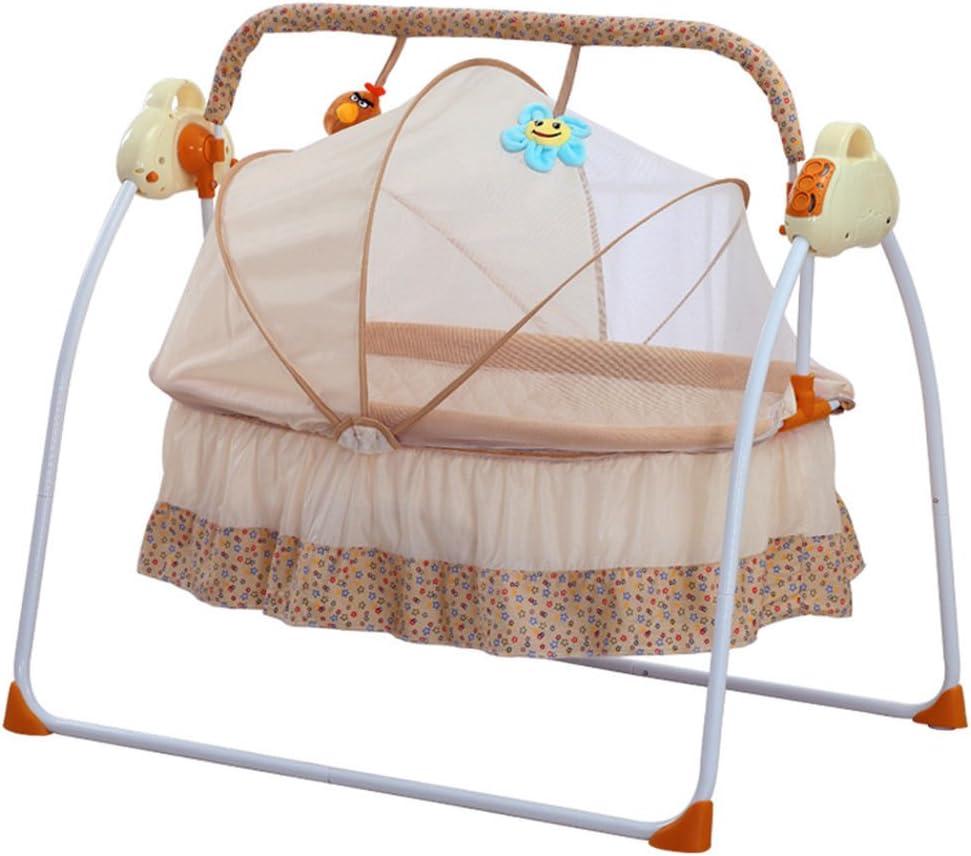 Baby Cradle Swing Electric Stand Baby Crib Cradle Auto Rocking Chair Newborns Bassinets Sleep Bed Khaki Rocking Music Remoter Control Sleeping Basket Bed Newborns Sway Baby Swing