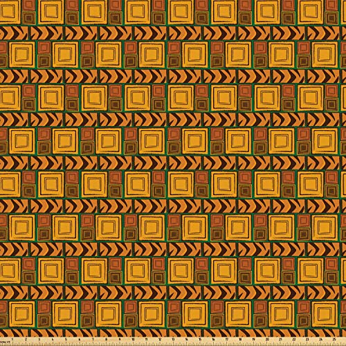 - Ambesonne Zambia Fabric by The Yard, Kenya Ethnic Motif with Geometrical Aztec Native American Effects Print, Microfiber Fabric for Arts and Crafts Textiles & Decor, 3 Yards, Yellow Brown Green