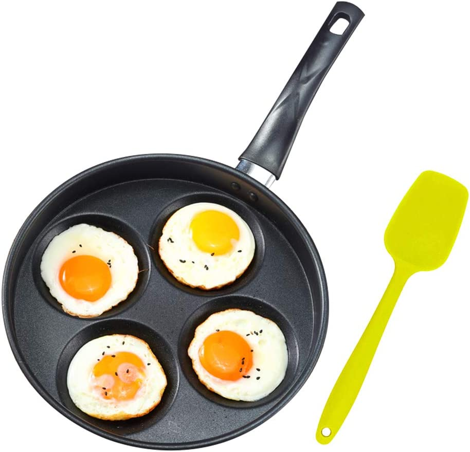 """Iron Egg Frying Pan with Non-Stick Ceramic Coating - 9.8"""" 4 Cup Egg Cooker Pan and 8.3"""" Silicone Turner - Multipurpose Pancake Pan Burger Omelet Cooker Griddle(PFOA Free)"""