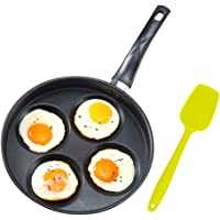 """Iron Egg Frying Pan with Non-Stick Ceramic Coating - 9.8"""" 4 Cup Egg Cooker Pan and 8.3"""" Silicone Turner - Multipurpose…"""