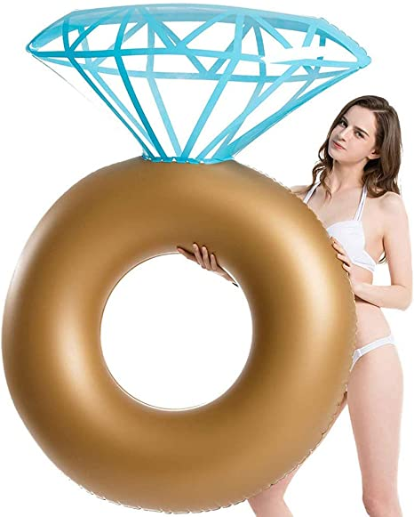 Inflatable Diamond Ring Pool Float Creative Photography Props for Adults and Children Hahepo Inflatable Pool air Mattress