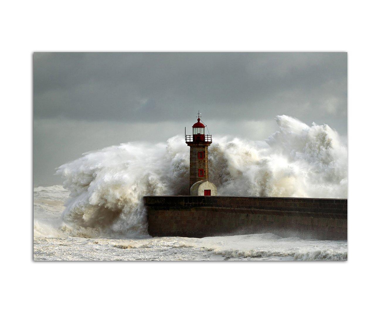 Amazon.de: 120x60cm - WANDBILD Meer Welle Sturm Brandung Leuchtturm ...