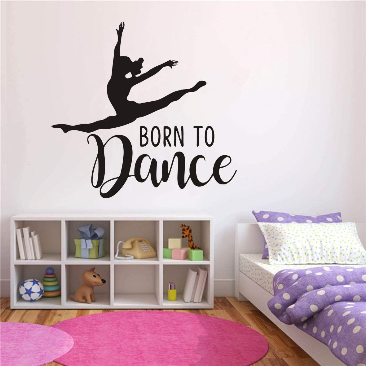 Home Decoration Dance Wall Sticker Art Removable Girl Dancing Born to Dance Quotes Wall Decor Sticker Girl Bedroom Dance Room Wall Mural Poster QQ22(Black Finish Size 70x65cm)