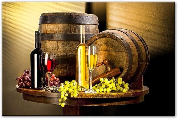 SLQUIET Variedad de Vino con Uvas en la Pared Arte Lienzo Vintage Lienzo Arte Pintura Cocina Sala decoración Pintura sin Marco 30x45 cm: Amazon.es: Hogar