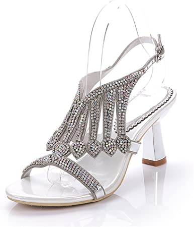 Wzhshoes Womens Diamante Evening Wedding Bridal Prom Party Low Heel Sandals Silver, Gold Or Black,Silver,EUR37/UK5