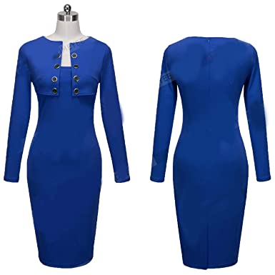 cba58a6f18a2 GDFV86D Spring Women Business Casual Sliming Pencil Dresses Elegant Long  Sleeve Office Ladies Wear to Work