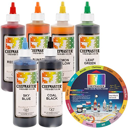 Chefmaster by US Cake Supply Liqua-Gel 10.5 Ounce Cake Decorating 6 Color Kit