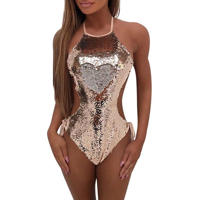 nuova collezione 186d4 2d9b4 Costume da Bagno Sexy da Donna Slip Hot Costumi Interi Estivo Sportive  Tinta Unita Leggera Sesso Elegante Paillettes Invernale Bikini Tuta Intimo  ...