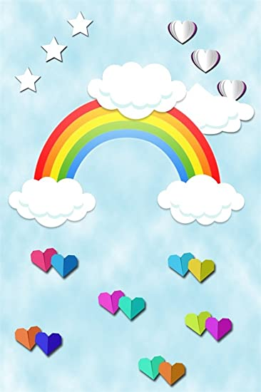 Ofila Cartoon Rainbow Clouds Stars Heart Shaped Origami Backdrop 3x5ft Kids Room Wallpaper Children Birthday Photos Party Event Photography Newborn