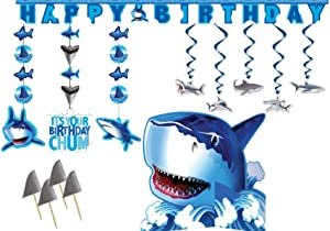 Shark Party Decorations Supply Pack - Bundle Includes Hanging Cutouts, Happy Birthday Banner, Centerpiece, Shark Whirls and Shark Fin Picks