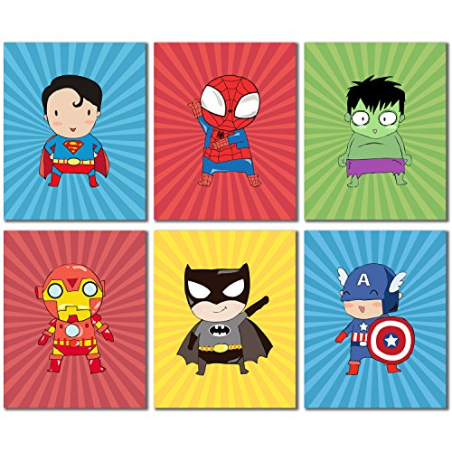 Superhero Kids Art Prints - Set of Six 8x10 Photos - Superman Spiderman Batman Ironman Captain America Hulk (Batman Print)