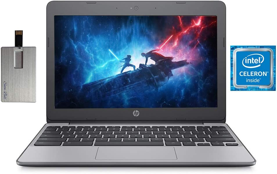 "2020 HP Chromebook 11.6"" HD Laptop Computer, Intel Celeron N3060 Processor, 4GB RAM, 16GB eMMC, HD Audio, HD Webcam, Intel UHD Graphics 400, Bluetooth, Chrome OS, Black, 32GB SnowBell USB Card"